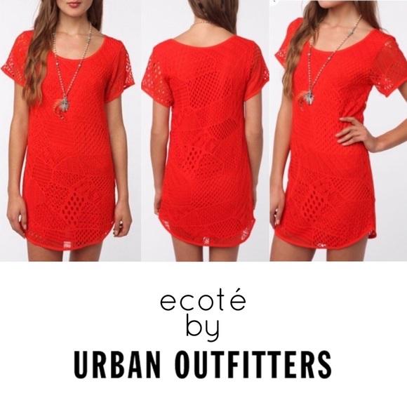 ecoté Dress Patchwork Crochet Orange Short Sleeve